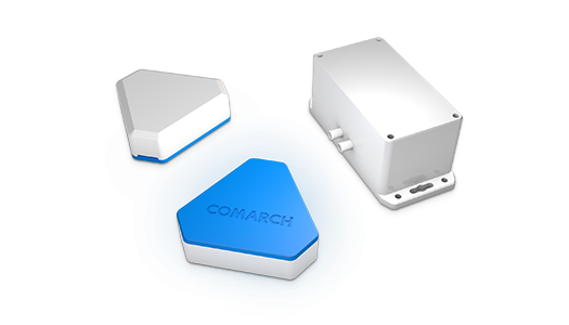 Comarch beacon is a compact BLE device broadcasting a radio signal, readable by smartphones.